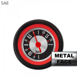 Turbo Gauge -  SAE American Retro Rodder Red Ring II, Red Vintage Needles, Black Trim Rings ~ Style Kit Installed - Part Number: GAR1133ZEXMACAE