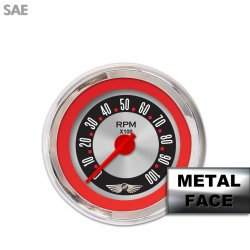 Tachometer Gauge with emblem - American Retro Rodder Red Ring IIII, Red Modern Needles, Chrome Trim Rings ~ Style Kit Installed - Part Number: GAR1135ZEAIABCE