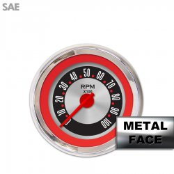 Tachometer Gauge - American Retro Rodder Red Ring IIII, Red Modern Needles, Chrome Trim Rings ~ Style Kit Installed - Part Number: GAR1135ZEXIABCE