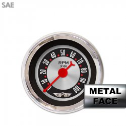 Tachometer Gauge with emblem - American Retro Rodder II, Red Classic Needles, Chrome Trim Rings ~ Style Kit Installed - Part Number: GAR1137ZEAIABBE