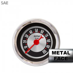 Tachometer Gauge - American Retro Rodder II, Red Classic Needles, Chrome Trim Rings ~ Style Kit Installed - Part Number: GAR1137ZEXIABBE