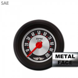 Tachometer Gauge with emblem - American Retro Rodder III, Red Modern Needles, Black Trim Rings ~ Style Kit Installed - Part Number: GAR1138ZEAIACCE