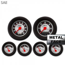 6 Gauge Set with emblem -  SAE American Retro Rodder III, Red Modern Needles, Black Trim Rings ~ Style Kit Installed - Part Number: GAR1138ZEARACCE