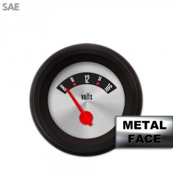 Volt Gauge -  SAE American Retro Rodder III, Red Modern Needles, Black Trim Rings ~ Style Kit Installed - Part Number: GAR1138ZEXNACCE
