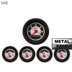 5 Gauge Set -  SAE American Retro Rodder III, Red Modern Needles, Black Trim Rings ~ Style Kit Installed - Part Number: GAR1138ZEXQACCE
