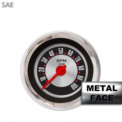 Tachometer Gauge - American Retro Rodder IIII, Red Modern Needles, Chrome Trim Rings ~ Style Kit Installed - Part Number: GAR1139ZEXIABCE
