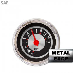 Turbo Gauge -  SAE American Retro Rodder IIII, Red Modern Needles, Chrome Trim Rings ~ Style Kit Installed - Part Number: GAR1139ZEXMABCE