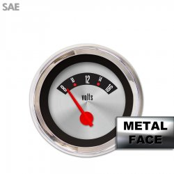 Volt Gauge -  SAE American Retro Rodder IIII, Red Modern Needles, Chrome Trim Rings ~ Style Kit Installed - Part Number: GAR1139ZEXNABCE