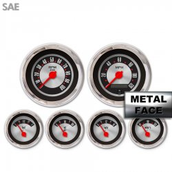 6 Gauge Set -  SAE American Retro Rodder IIII, Red Modern Needles, Chrome Trim Rings ~ Style Kit Installed - Part Number: GAR1139ZEXRABCE