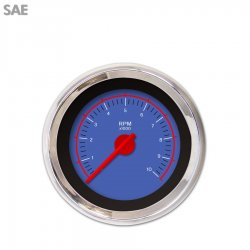 Tachometer Gauge - VX Blue , Red Modern Needles, Chrome Trim Rings ~ Style Kit Installed - Part Number: GAR146ZEXIABCE