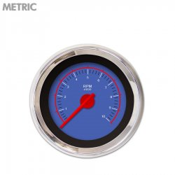 Tachometer Gauge - VX Blue , Red Modern Needles, Chrome Trim Rings ~ Style Kit Installed - Part Number: GAR146ZMXIABCE