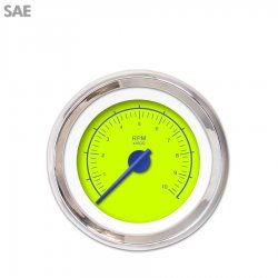 Tachometer Gauge - VX Green , Blue Modern Needles, Chrome Trim Rings ~ Style Kit Installed - Part Number: GAR147ZEXIABCF