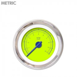 Tachometer Gauge - VX Green , Blue Modern Needles, Chrome Trim Rings ~ Style Kit Installed - Part Number: GAR147ZMXIABCF
