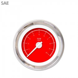 Tachometer Gauge - VX Red , White Modern Needles, Chrome Trim Rings ~ Style Kit Installed - Part Number: GAR148ZEXIABCD