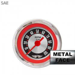 Assembled Tachometer Gauge with emblem - American Retro Rodder ~ Red Ring Face, Red Classic Needles, Chrome Bezels - Part Number: GAR15ZEAIABBE