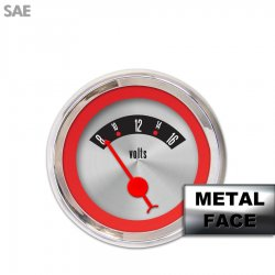 Volt Gauge - American Retro Rodder Red Ring, Red Classic Needles, Chrome Trim Rings ~ Style Kit Installed - Part Number: GAR15ZEXNABBE
