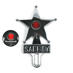Hot Rod Jewel Safety Star Chromed License Plate Topper Red LED Illumination - Part Number: VPALPT007RD