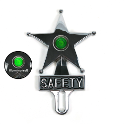 Hot Rod Jewel Safety Star Chromed License Plate Topper Green LED Illumination - Part Number: VPALPT007GN