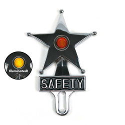 Hot Rod Jewel Safety Star Chromed License Plate Topper Yellow LED Illumination - Part Number: VPALPT007YL