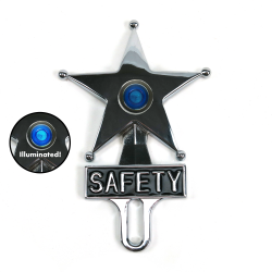 Hot Rod Jewel Safety Star Chromed License Plate Topper Blue LED Illumination - Part Number: VPALPT007BL