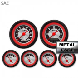 6 Gauge Set with emblem -  SAE American Retro Rodder Red Ring VI, Red Classic Needles, Black Trim Rings ~ Style Kit DIY Install - Part Number: GAR2132ZEARACBE