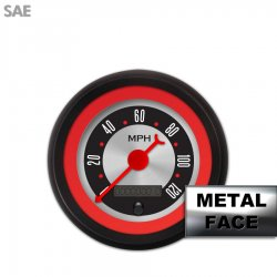 Speedometer Gauge -  SAE American Retro Rodder Red Ring VI, Red Classic Needles, Black Trim Rings ~ Style Kit DIY Install - Part Number: GAR2132ZEXHACBE