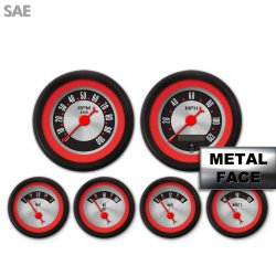 6 Gauge Set -  SAE American Retro Rodder Red Ring VI, Red Classic Needles, Black Trim Rings ~ Style Kit DIY Install - Part Number: GAR2132ZEXRACBE