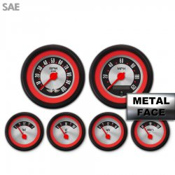 6 Gauge Set with emblem -  SAE American Retro Rodder Red Ring V, Red Modern Needles, Black Trim Rings ~ Style Kit DIY Install - Part Number: GAR2136ZEARACCE