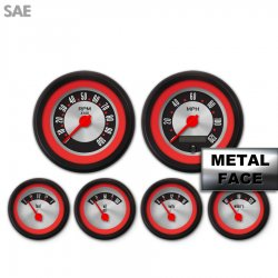 6 Gauge Set -  SAE American Retro Rodder Red Ring V, Red Modern Needles, Black Trim Rings ~ Style Kit DIY Install - Part Number: GAR2136ZEXRACCE
