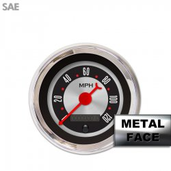 Speedometer Gauge -  SAE American Retro Rodder II, Red Classic Needles, Chrome Trim Rings ~ Style Kit DIY Install - Part Number: GAR2137ZEXHABBE