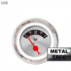 Fuel level Gauge - American Retro Rodder, Red Classic Needles, Chrome Bezels - Part Number: GAR24ZEXKABBE