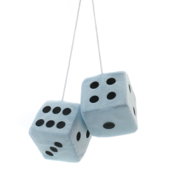 "3"" Light Blue Fuzzy Dice with Black Dots - Pair - Part Number: VPADICELBB"