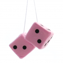"3"" Light Pink Fuzzy Dice with Black Dots - Pair - Part Number: VPADICELPB"