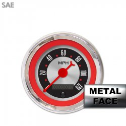 Speedometer Gauge - American Retro Rodder Red Ring, Red Classic Needles, Chrome Trim Rings ~ Style Kit DIY Install - Part Number: GAR25ZEXHABBE