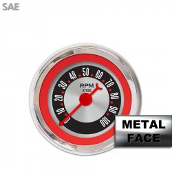 Tachometer Gauge - American Retro Rodder Red Ring, Red Classic Needles, Chrome Trim Rings ~ Style Kit DIY Install - Part Number: GAR25ZEXIABBE