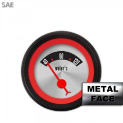Water Temp Gauge - American Retro Rodder ~ Red Ring Face, Red Classic Needles, Black Bezels - Part Number: GAR25ZEXLACBE