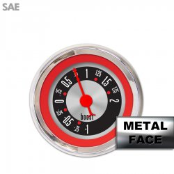 Turbo Gauge - American Retro Rodder Red Ring, Red Classic Needles, Chrome Trim Rings ~ Style Kit DIY Install - Part Number: GAR25ZEXMABBE