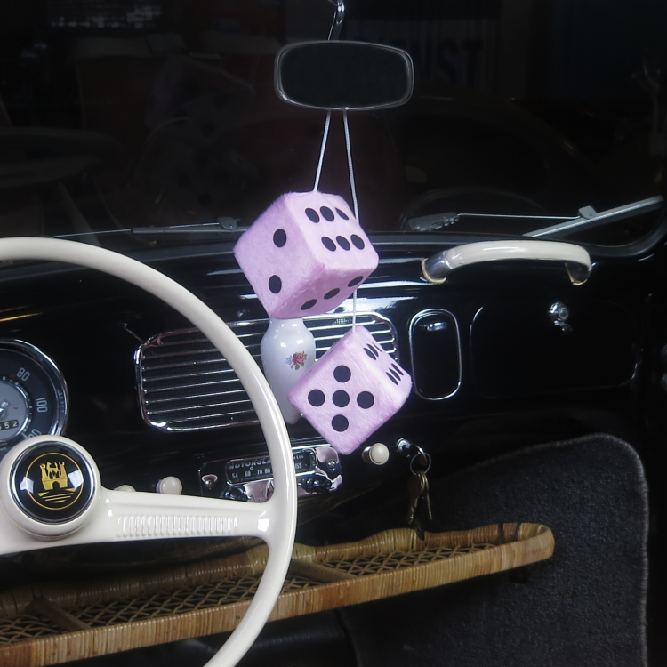 MRCARTOOL Car Fuzzy Dice,3 inch Pair of Retro Square Mirror Hanging Dice Couple Fuzzy Plush Dice with Dots for Car Interior Ornament Decoration Black