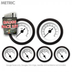 Gauge Face Set -  Metric American Classic White - Part Number: GARFM12