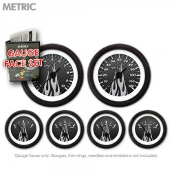 Gauge Face Set -  Metric Carbon Fiber Gray Flame - Part Number: GARFM94