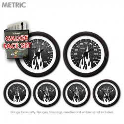 Gauge Face Set -  Metric Carbon Fiber White Flame - Part Number: GARFM95