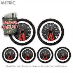 Gauge Face Set -  Metric Carbon Fiber Red Flame - Part Number: GARFM96