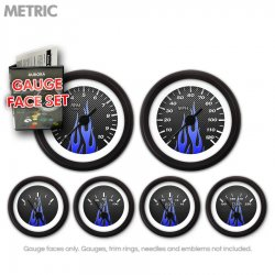Gauge Face Set -  Metric Carbon Fiber Blue Flame - Part Number: GARFM97
