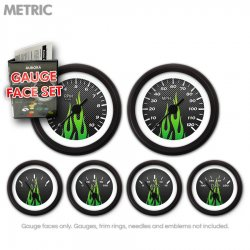 Gauge Face Set -  Metric Carbon Fiber Green Flame - Part Number: GARFM98