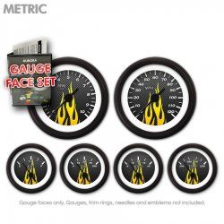 Gauge Face Set -  Metric Carbon Fiber Yellow Flame - Part Number: GARFM99