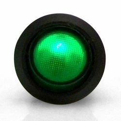Illuminated Rocker Switch 6 - Green 20a/12vdc - Part Number: KICSW32G