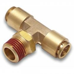 "1/2"" NPT Male to 1/4"" Push Tube Straight Male T Air Fitting - Part Number: HEXAFQ12NX14PX14P"