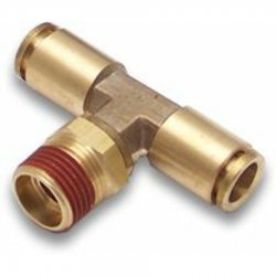 "3/8"" NPT Male to 1/2"" Push Tube Straight Male T Air Fitting - Part Number: HEXAFQ38NX12PX12P"