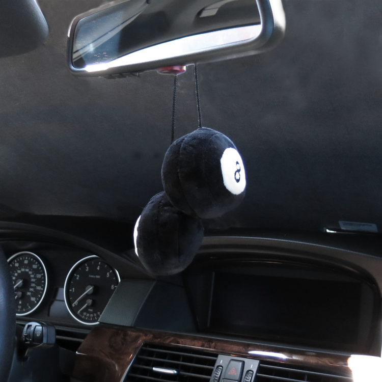 Pair Fuzzy Hanging Rearview Mirror 8-Balls