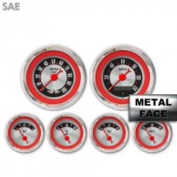 Assembled 6 Gauge Set with emblem - American Retro Rodder ~ Red Ring Face, Red Classic Needles, Chrome Bezels - Part Number: GAR15ZEARABBE